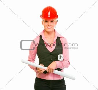 Portrait of modern architect woman with flipcharts in hands
