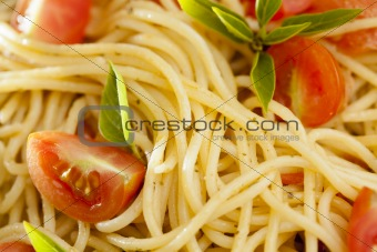Tomato and Basil Pasta Close-Up