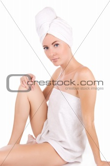 After bath in towel