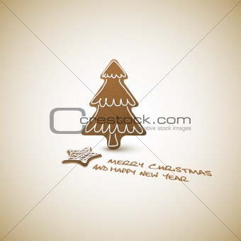 Vector Christmas card - ginger breads with white icing