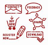 Simple vector contact, feedback, share, buy, download, register stamps