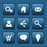 Set of blue vector web square buttons