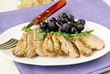 cooked meat duck with berry sauce and salad on a plate