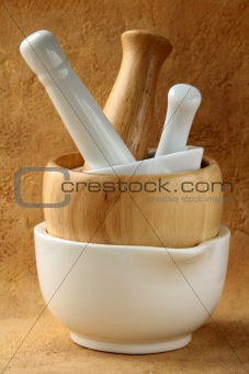 An empty mortars and pestle