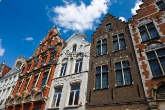 Flemish houses facades in Brugge, Belgium