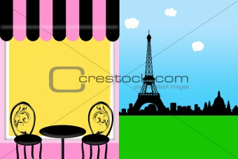 Cafe Bistro in Paris with Eiffel Tower Illustration