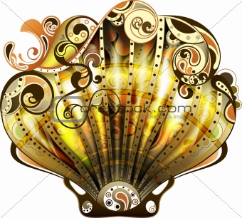 Abstract Gold Scallop