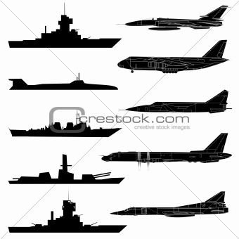 A set of military aircraft, ships and submarines.