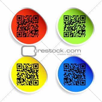 Set of labels with qr codes.