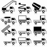 Set of vector icons - transportation symbols. Black on white. Ca