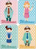 cartoon doctor and nurse card