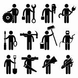 Construction Worker Job Pictogram