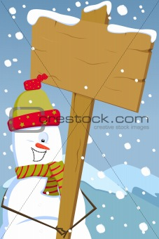 Snowman holding woodenboard