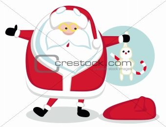 Cartoon Santa holding a rabbit