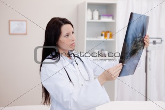 Doctor looking at a set of X-ray