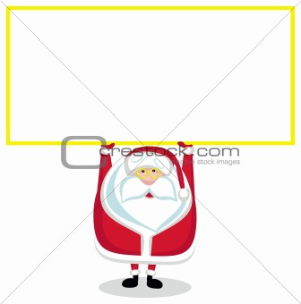 Cartoon Santa with copy space