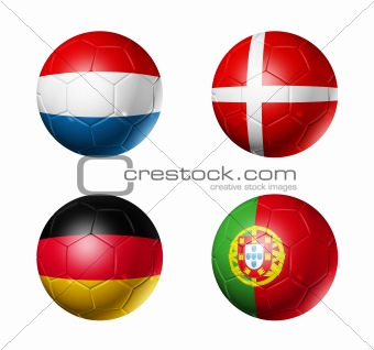 national flags on soccer balls