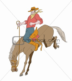 rodeo cowboy riding bucking horse bronco