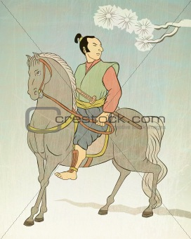Japanese Samurai warrior riding horse