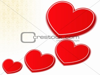3D Red Hearts
