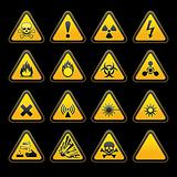 Set triangular warning signs Hazard symbols