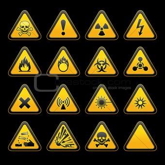Image description set triangular warning signs hazard symbols vector