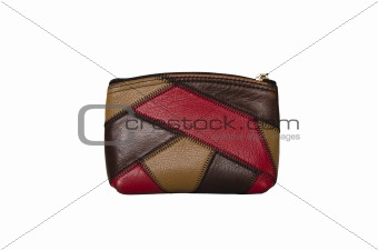 red brown little wallet isolated