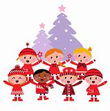 Cute multicultural caroling Children, christmas Tree