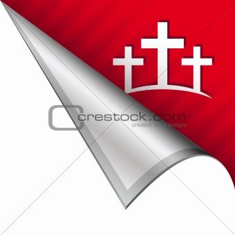 Christian cross on peeling corner tab