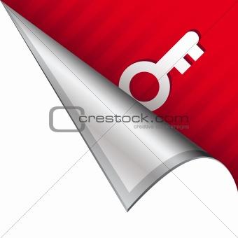 Skeleton key icon on peeling corner tab