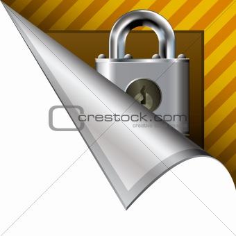 Security lock icon on peeling corner tab
