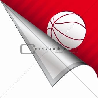 Basketball on peeling corner tab