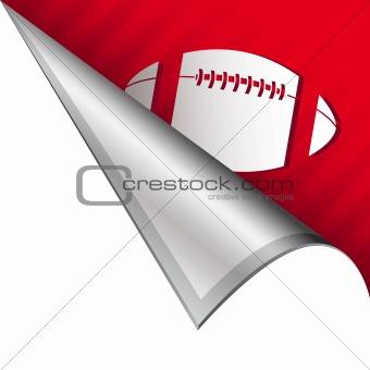 Football on peeling corner tab