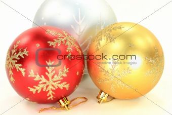 Three Christmas Decoration Balls.