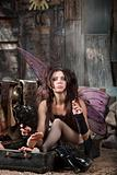 Smoking Fairy in Suitcase
