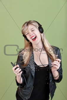 Teen Enjoys Music