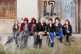Serious looking group of young punk teens
