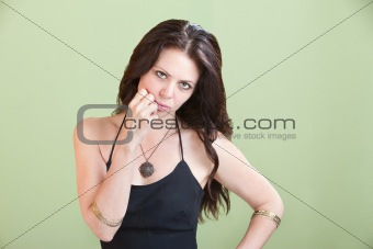 Pretty Woman with Hand on Cheek