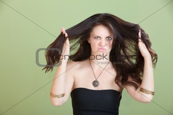 Unhappy Woman with bad Hair
