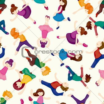 cartoon dancer seamless pattern