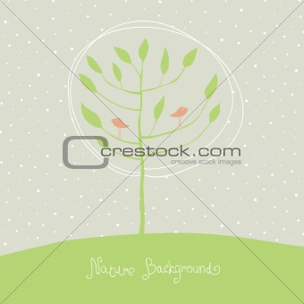 Green tree with birds on branches. Vector, EPS8.