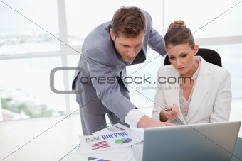 Business team working on poll results