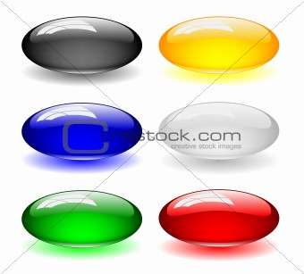 Glass web buttons illustration with shadow color variation