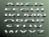 Vector chrome alphabet.Isolated abstract letters on color backgr