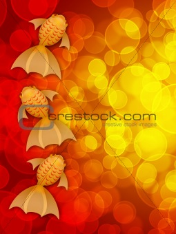 Three Fancy Goldfish on Red Blurred Background