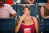 Shocked Woman with Popcorn