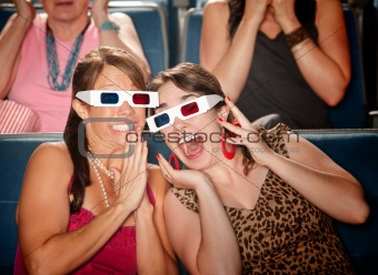 Excited Women Watch 3d Movie