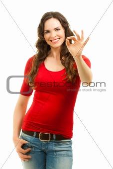Beautiful woman making an OK sign