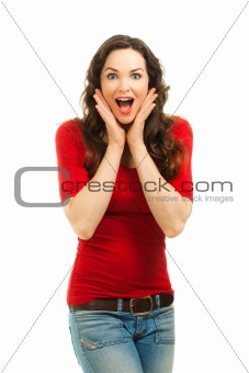Portrait of beautiful surprised woman