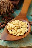 Pine nuts in a wooden spoon